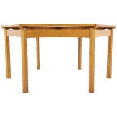Large Scottish Solid Oak Hexagonal Dining, Games, Conference Table