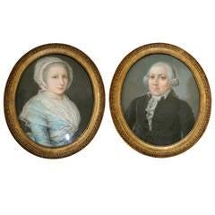 "Pair of Antique Oval 18th Century Pastel Portraits ""J.B. Hirschmann,"" 1790"