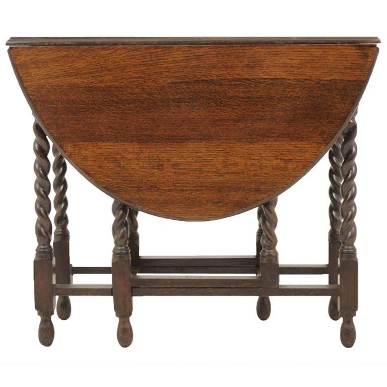 Oak barley twist gateleg table at 1stdibs - Gateleg table with chairs ...