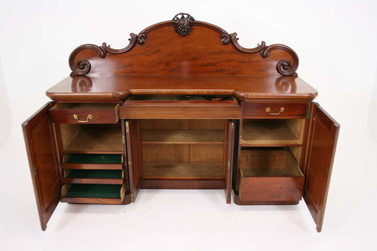 Antique Scottish Victorian Mahogany Sideboard Buffet