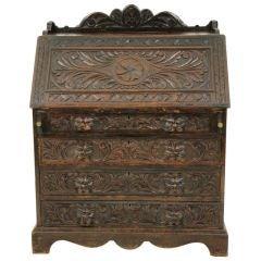 Heavily Carved Oak Slant Front Desk