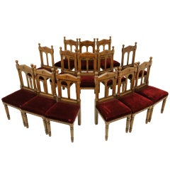 Set of 14 Oak Victorian Gothic Style Chairs