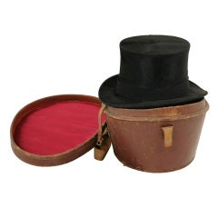 Victorian Gentleman's Black Top Hat With Leather Case