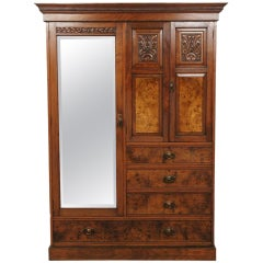 Victorian Mahogany & Walnut Mirrored Door Armoire