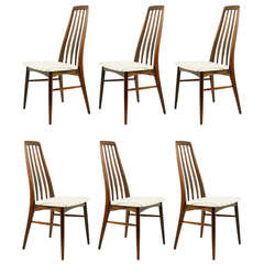 "Six Rosewood ""Eva"" Dining Chairs by Niels Kofoed"