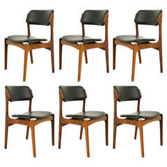 Six Rosewood Dining Chairs by Erik Buck, #49