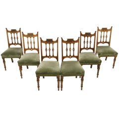 Set of 6 Art Nouveau Oak Dining Chairs