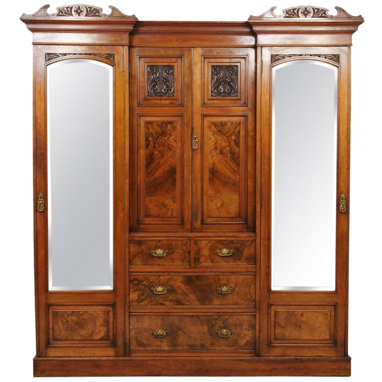 Victorian Mahogany and Walnut Armoire / Wardrobe at 1stdibs