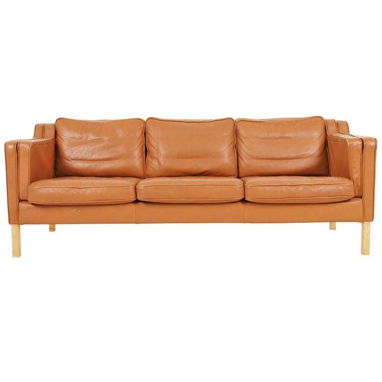 danish modern three seater leather sofa at 1stdibs