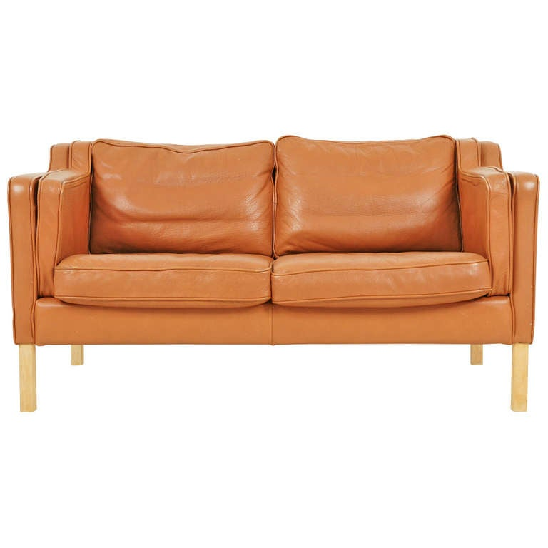 Danish Modern 2 Seater Leather Sofa