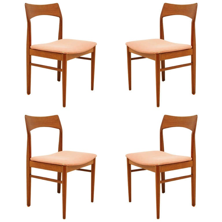 this danish modern set of four teak dining chairs is no longer