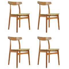 Set of Four Teak Dining Chairs by Bruno Hansen