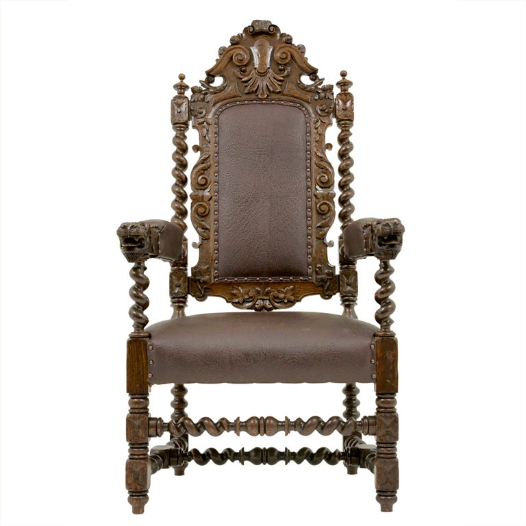 Carved Victorian Oak Throne Chair At 1stdibs