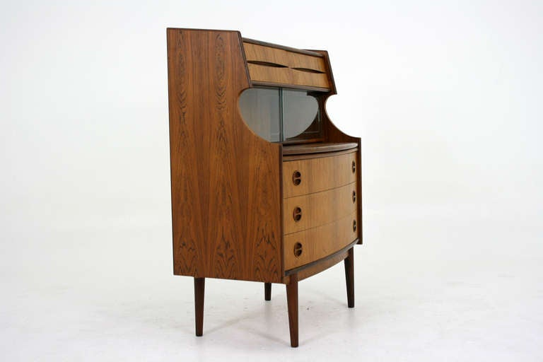 Danish Modern Rosewood Secretary Desk Bureau at 1stdibs