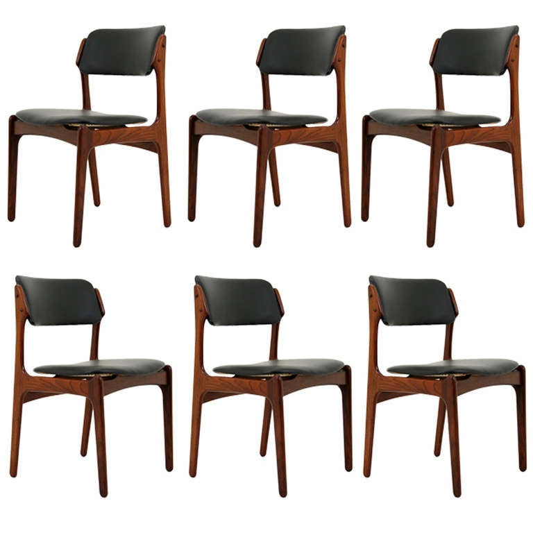 Beautiful Set 6 Rosewood Dining Chairs By Erik Buck At 1stdibs