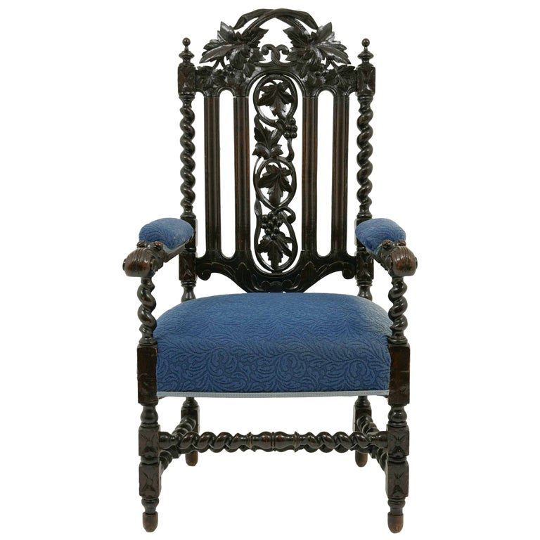 Jacobean Carved Oak Throne Chair At 1stdibs