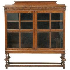 Antique Oak 2-Door Bookcase