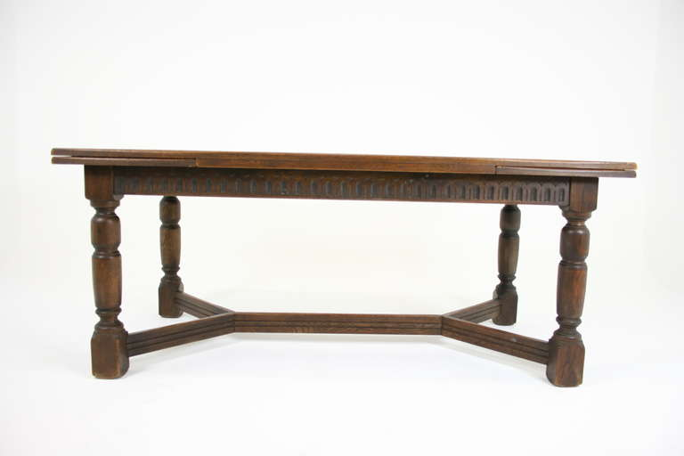 Antique Scottish Oak Draw Leaf Refectory Dining Table