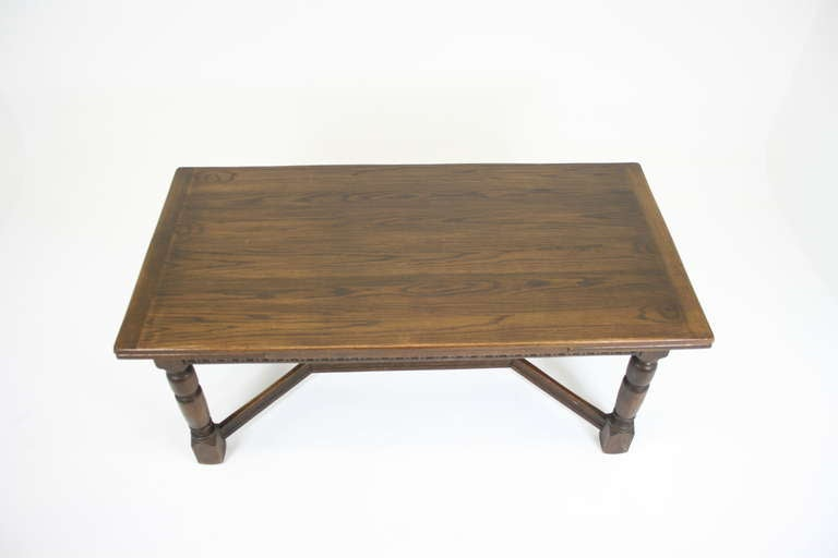 Antique Scottish Oak Draw Leaf Refectory Dining Table With Two Leaves At 1s