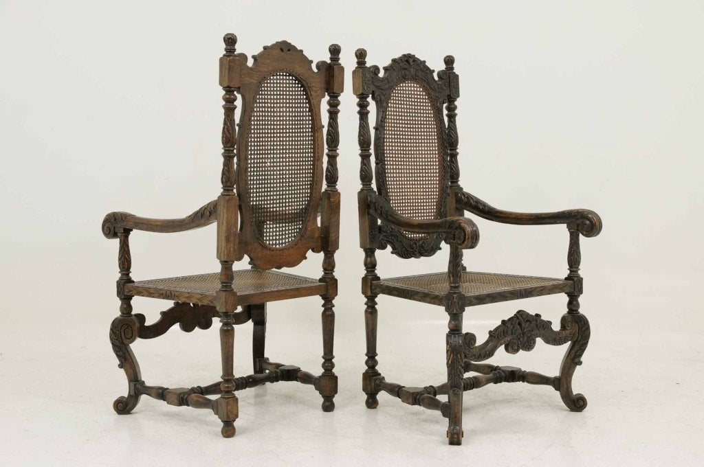 Magnificent Pair Of Carved Oak Throne Chairs At 1stdibs