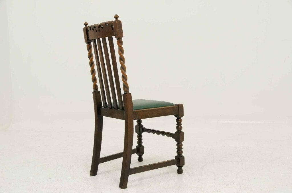Six 6 Oak Barley Twist Dining Chairs At 1stdibs