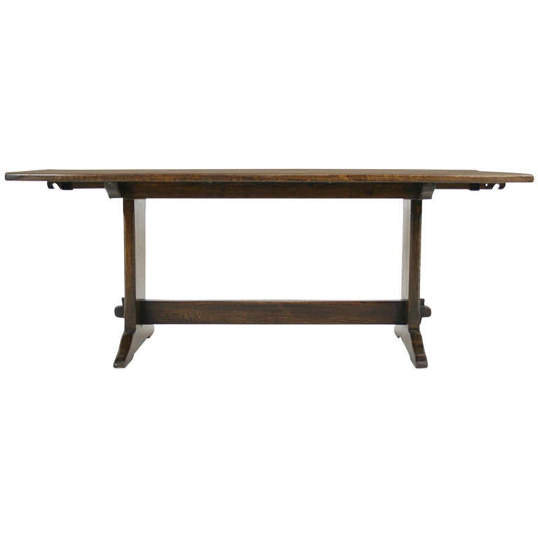Antique Solid Oak Trestle Refectory Farm Table W 2