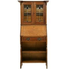 Art Nouveau Leaded Glass Bureau Bookcase With Slanted Front