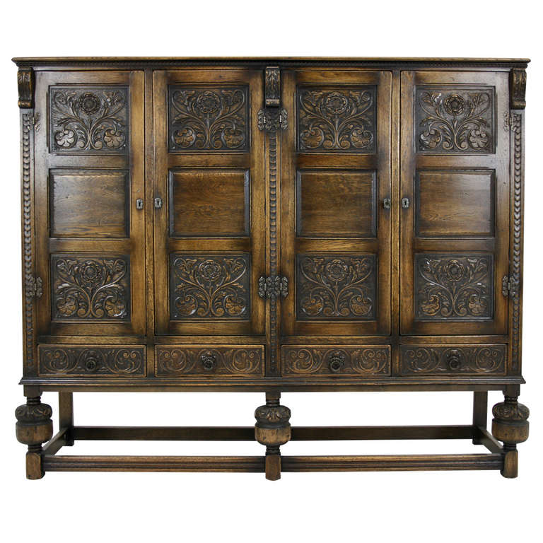 Antique Scottish Carved Oak 4 Door Cabinet, Pantry, Linen Cupboard For Sale