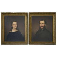 Pair 19th Century Antique Scottish Portraits Oil Paintings Framed ~1860~