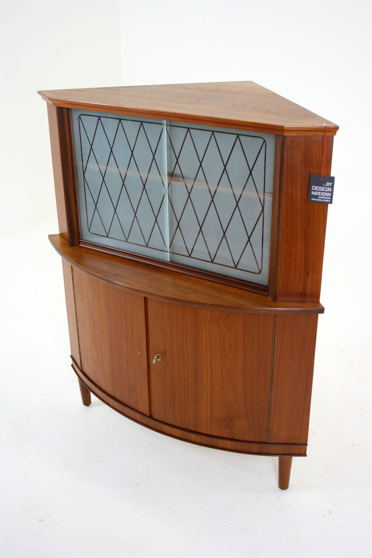 Danish mid century modern teak corner cabinet or bar for Modern teak kitchen cabinets