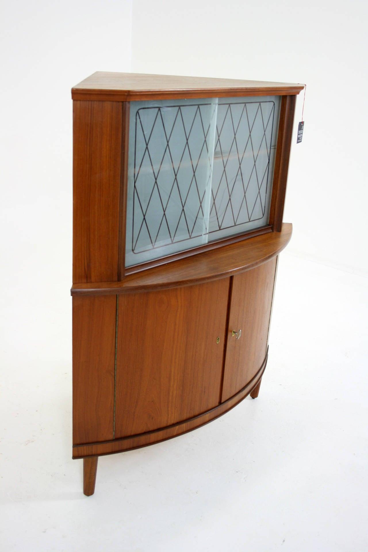 Danish Mid Century Modern Teak Corner Cabinet Or Bar Cupboard 3