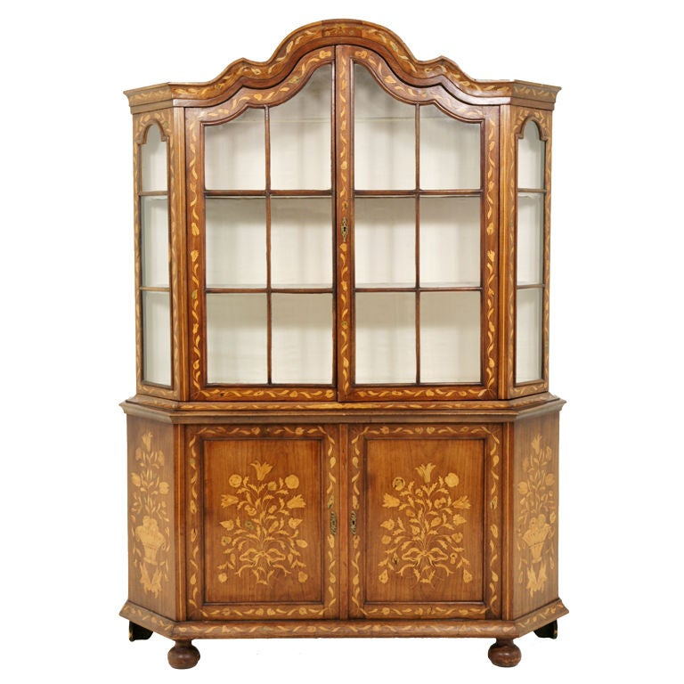 19th Century Dutch Marquetry China Cabinet