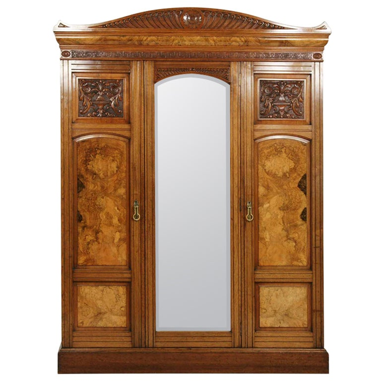 Large triple door victorian armoire at 1stdibs for Triple french doors for sale