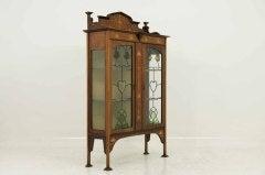 Early 20th Century Mahogany Art Nouveau Display, China Cabinet image 7
