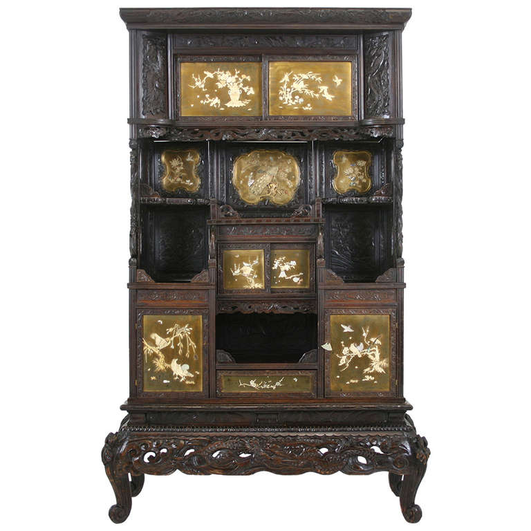 Antique Japanese Black Laquered Inlaid Shadona Display, Curio Cabinet For  Sale - Antique Japanese Black Laquered Inlaid Shadona Display, Curio