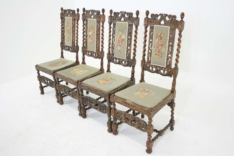 Set of Four Antique Scottish Heavily Carved Walnut Barley Twist Dining  Chairs 2 - Set Of Four Antique Scottish Heavily Carved Walnut Barley Twist