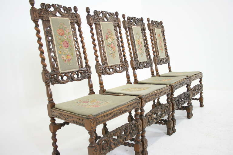 Phenomenal Set Of Four Antique Scottish Heavily Carved Walnut Barley Pabps2019 Chair Design Images Pabps2019Com