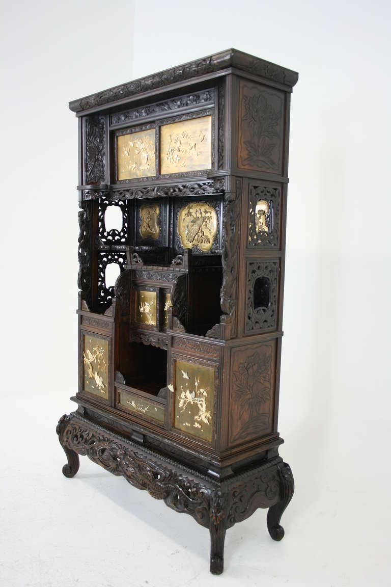 Antique Japanese Black Laquered Inlaid Shadona Display, Curio Cabinet 2 - Antique Japanese Black Laquered Inlaid Shadona Display, Curio