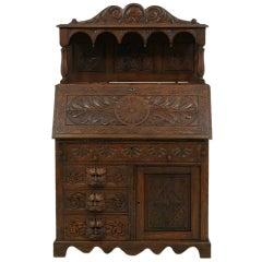 Victorian Carved Oak Slant Front Desk