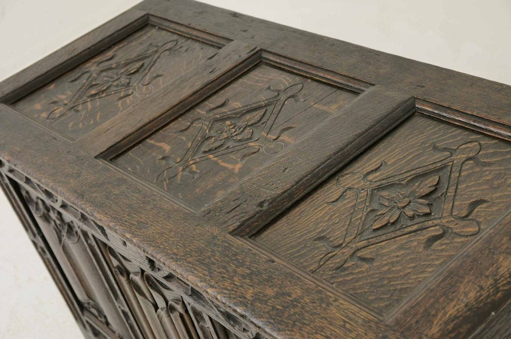 Victorian Carved Oak Coffer, Trunk image 3