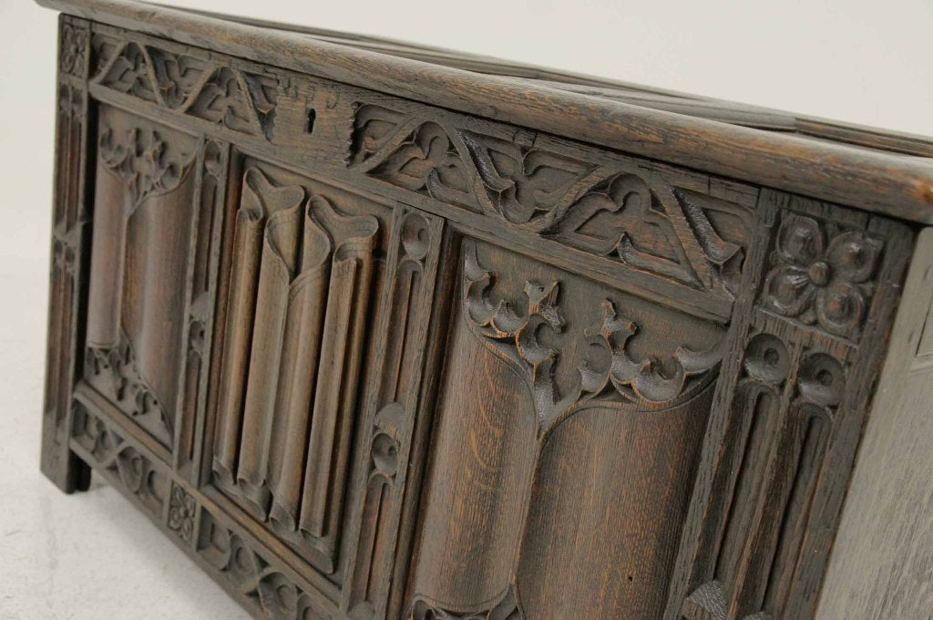 Victorian Carved Oak Coffer, Trunk image 5