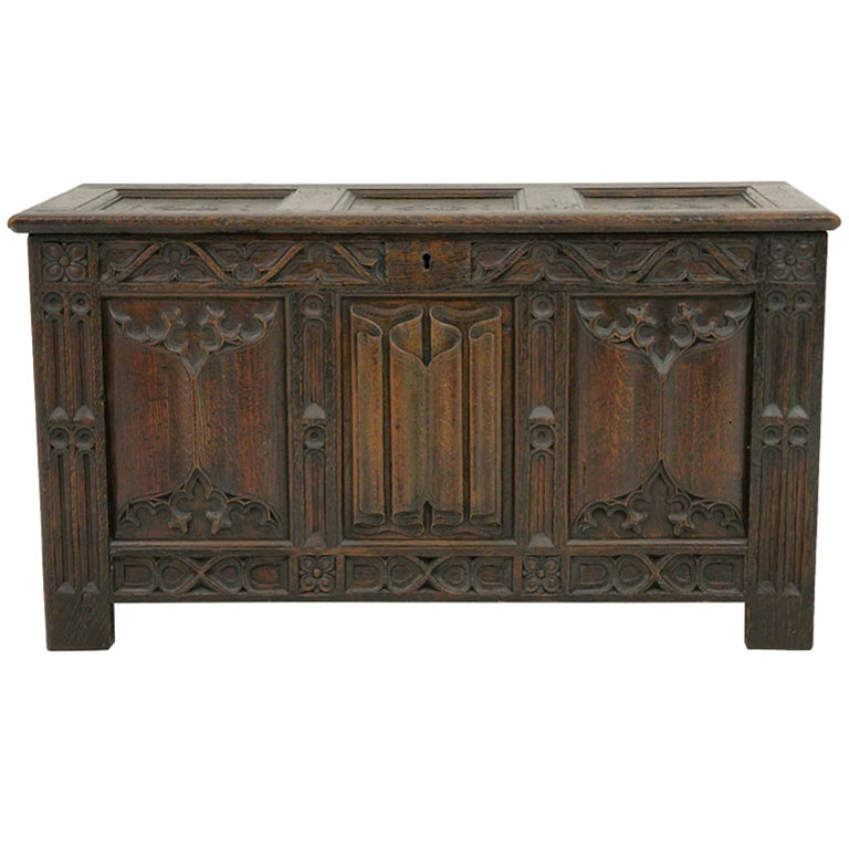 Victorian Carved Oak Coffer, Trunk