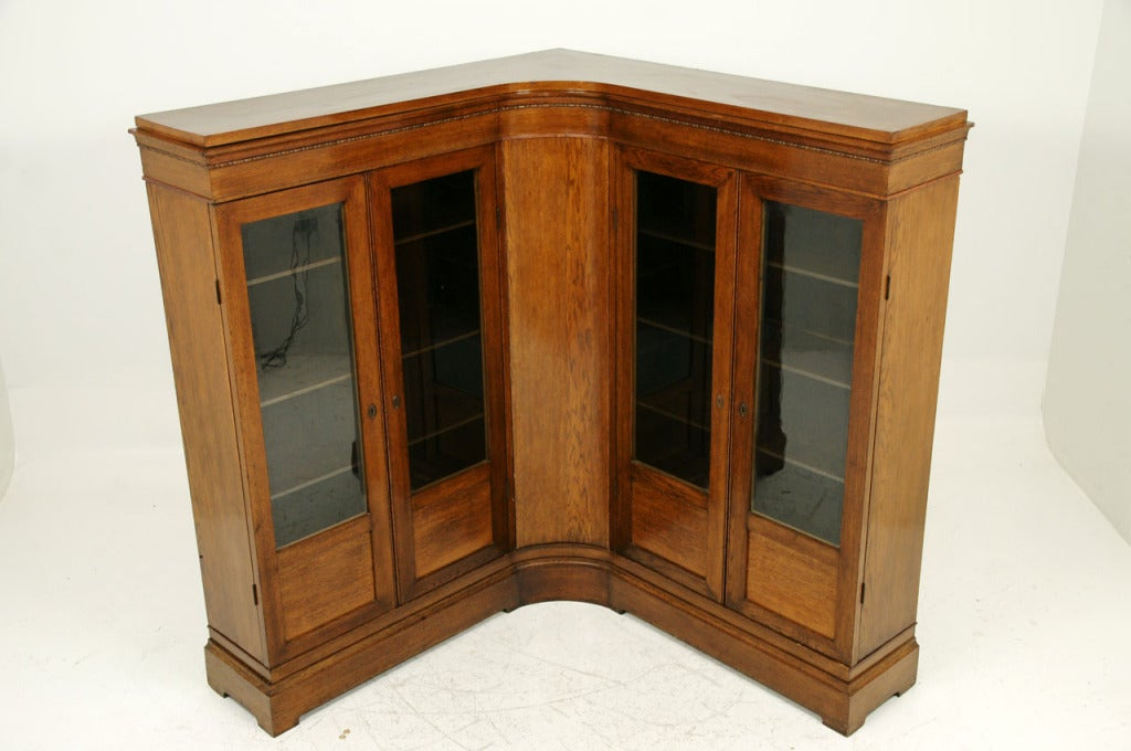 Unusual antique oak corner bookcase at stdibs