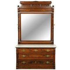 Walnut Marble Top Dresser With Mirror