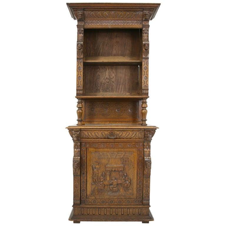 Victorian carved oak cabinet at 1stdibs for Carved kitchen cabinets