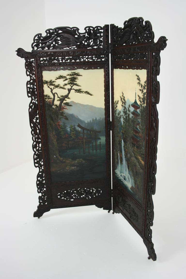 Antique Japanese 19th Century Folding Screen, Room Divider
