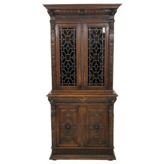 Victorian Carved Oak Bookcase With Stain Glass