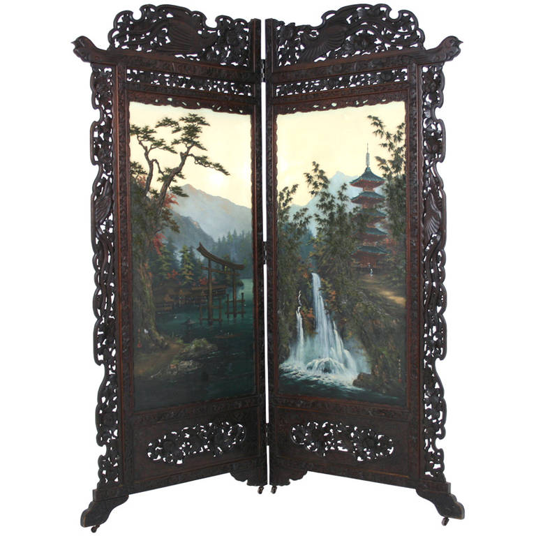 Antique Japanese 19th Century Folding Screen, Room Divider ...
