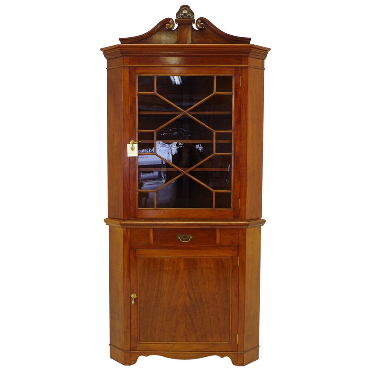 Large American Mahogany Glass Front Corner Cabinet For