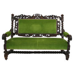 Antique Scottish Carved Walnut Barley Twist Settee Sofa